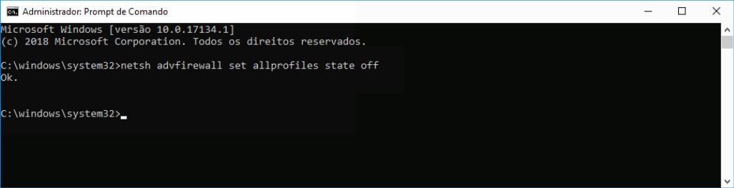 Desativar Firewall Windows 10 command line